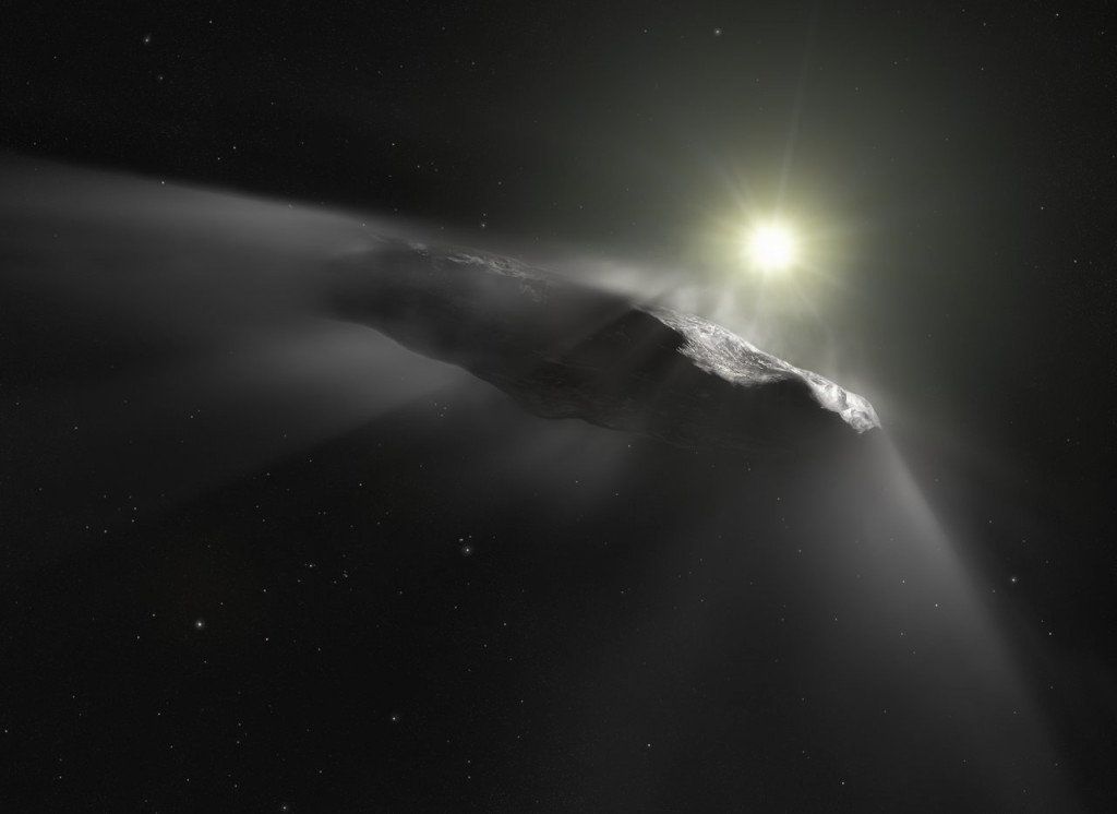 This artist's impression shows the first interstellar object discovered in the Solar System, `Oumuamua. Observations made with ESO's Very Large Telescope, the NASA/ESA Hubble Space Telescope, and others show that the object is moving faster than predicted while leaving the Solar System. Researchers assume that venting material from its surface due to solar heating is responsible for this behaviour. This outgassing can be seen in this artist's impression as a subtle cloud being ejected from the side of the object facing the Sun. As outgassing is a behaviour typical for comets, the team thinks that `Oumuamua's previous classification as an interstellar asteroid has to be corrected.